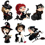 Set of charming witches and cats Royalty Free Stock Image
