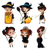 Set of 6 charming witches Stock Photo