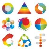 Set of Chart Diagram Icons - Wheel - Pyramid - Circle - Arrows. Elements royalty free illustration