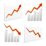 Set  chart graph positive, negative infographic Royalty Free Stock Image