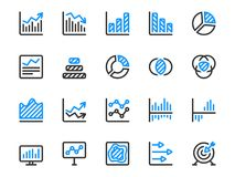 Set of chart vector icons for statistics and reports. Collection of diagram and infographic icons Stock Photo