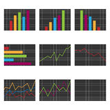 Set of charts. Set of nine business charts isolated on white background.EPS file available Royalty Free Stock Photography
