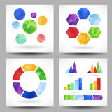 Set of charts with abstract triangles Stock Photo