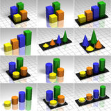 Set of charts, 3D illistration Stock Images
