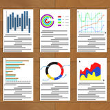 Set of charts document. Economic statistics and development graph business, vector illustration Royalty Free Stock Image