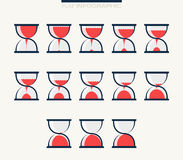 Set of charts in form hourglasses. Infographics Stock Photos