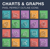 Set of charts and graphs icons with long shadow. Royalty Free Stock Photos