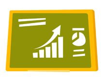 Set of charts on the green board vector cartoon. Set of different charts on the green board vector cartoon illustration isolated on white background Royalty Free Stock Photography