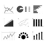 Set of charts monochrome. Analysis icon profit, collection of template report, vector illustration Royalty Free Stock Photo