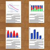 Set of charts. Statistics growth economy data, and report analytics, vector illustration Stock Photo