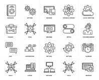 Set of  Chat, Browser, Tools, Laptop, Calendar, Settings, Toolbox, Hardware, Switch, Cloud computing icons. Set Of 20 icons such as Browser, Tools, Network Royalty Free Stock Photos