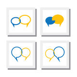 Set of chat signs or talk symbol or speech bubble vector icons Stock Images