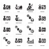 Set of Chauffeur, Gardener, Dyer, Taxi driver, Miner, Electrician, Student, Businessman, Detective icons. Set Of 16 simple  icons such as Chauffeur, Gardener Stock Images