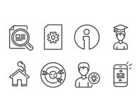 Check article, Person idea and Student icons. Targeting, File management and Mail signs. Set of Check article, Person idea and Student icons. Targeting, File Royalty Free Stock Image