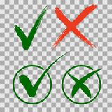 Set check mark icons. Green tick and red cross checkmarks in two variants. stock illustration