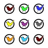 Set. Check mark. Icons. Multicolor. Set. Check mark Icons Vector Multicolor Birds Royalty Free Stock Images