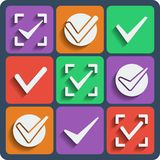 Set of 9 check marks web and mobile icons. Vector. Stock Photography
