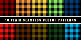 Set 10 Check Plaid Seamless Pattern in Blue, Crimson, Red, Green and Orange Colors. Template for Clothing Fabrics. Trendy Colors stock illustration