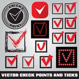 Set of check points and ticks Stock Photography