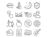 Web. Set of Checkbox, Infochart and Launch project icons. Send mail, Creativity and Crowdfunding signs. Video file, Quick tips and Electric guitar symbols stock illustration
