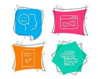 Checked file, Browser window and Good mood icons. Cashback card sign. Set of Checked file, Browser window and Good mood icons. Cashback card sign. Correct vector illustration