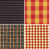 Set of checked and striped fabric texture Royalty Free Stock Photography