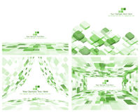 Set of 4 Checkered Green Background Stock Image