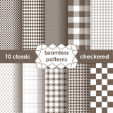 Set of checkered simple fabric seamless pattern Royalty Free Stock Photos