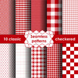 Set of checkered simple red fabric seamless pattern. Stock Images