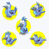 Set of cheerful blue parrots. Tropical bird. Collection. A pet. Stock Images
