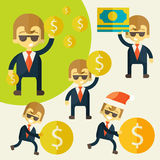 Set of cheerful businessman with his money. Royalty Free Stock Photos