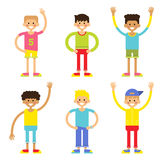 Set of cheerful children boys. Vector illustration on a white background in a flat style royalty free illustration