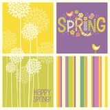 Set of cheerful coordinating retro Spring designs. Set of Spring designs including seamless stripes, doodle lettering, tall allium flowers. Cheerful coordinating Royalty Free Stock Photos