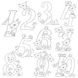 Set of cheerful figures. Cats and chickens. Cheerful greetings. Vector coloring book. Set of cheerful figures. Cats and chickens. Cheerful greetings. Vector Stock Photography