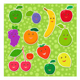 Set of cheerful fruit Stock Photo