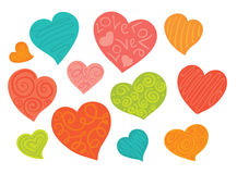 A set of cheerful hearts Stock Photo