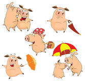 Set of cheerful pigs Cartoon Royalty Free Stock Image