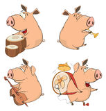 Set of cheerful pigs. Cartoon Royalty Free Stock Images