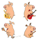 Set of cheerful pigs. Cartoon Stock Image