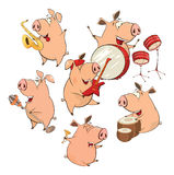 Set of cheerful pigs. Cartoon Stock Images
