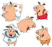 A set of cheerful pigs cartoon Stock Images
