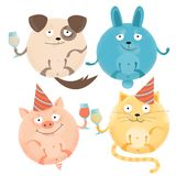 Set of 4 Cheerful round animals on holiday with glasses in festive caps. Happy smiling dog, rabbit, cat, pig. Flat textured stock illustration