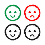 Set of cheerful and sad smiles. Drawing a rough brush. Grunge. Stock Photos