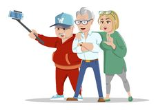 Set of cheerful senior people hipsters gathering and having fun. Group of senior people taking selfie photo with stick. royalty free illustration