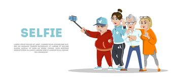 Set of cheerful senior people hipsters gathering and having fun. Group of senior people taking selfie photo with stick. Set of cheerful senior people hipsters royalty free illustration