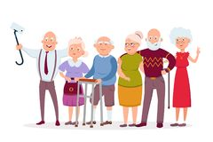 Set of cheerful senior people hipsters gathering and having fun, old men and women make selfie vector cartoon characters stock illustration