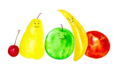 A set of cheerful,smiling fruits. Abstract watercolor illustrations isolated on white background royalty free illustration