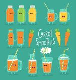 Set of cheerful smoothies with carrots. Vector graphics. Set of cheerful smoothies with carrots. Vector graphics royalty free illustration