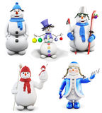 Set of cheerful snowmen  on white background. 3d. Royalty Free Stock Photos