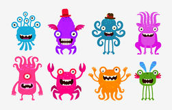 Set of cheerful and terrible monsters, ghosts, aliens. Vector illustration Royalty Free Stock Image
